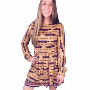 Freeway aztec long sleeve midi boho dress small